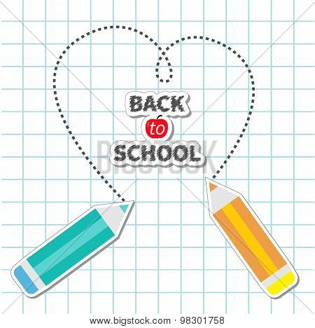 Two Pencils Drawing Dash Heart Paper Sheet Background Exercise Book Back To School Card. Flat Design