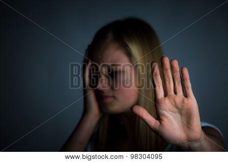 Bruised girl stop