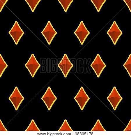 Precious Stones On Black Background Seamless Pattern. Vector Illustration