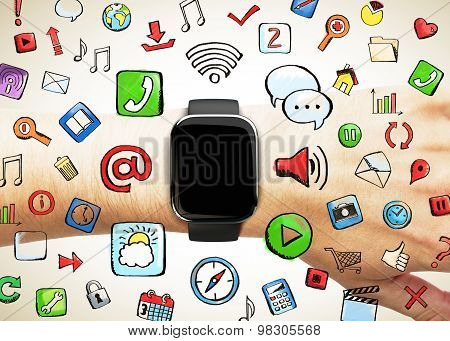 Smart Watch With Social Media Icon, Concept