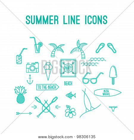 Summer line icon set. Beach and sea resort vacation design elements.