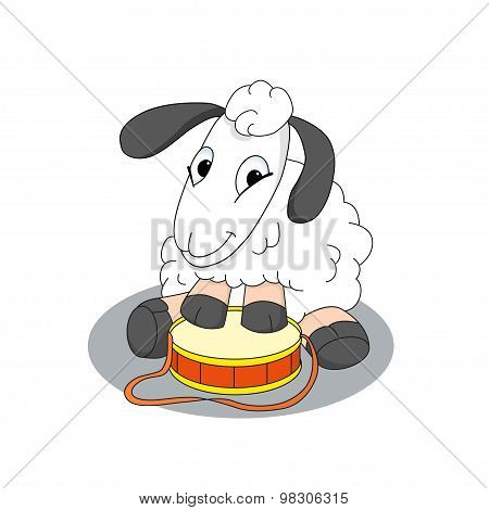Cute Cartoon Character Of Lamb With Drum
