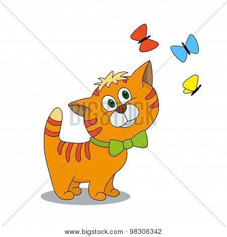 Cute Cartoon Character Kitten With Butterflies.