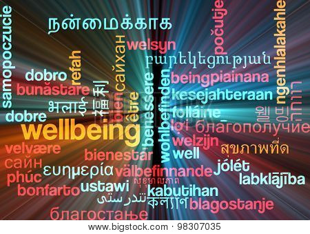 Background concept wordcloud multilanguage international many language illustration of wellbeing glowing light