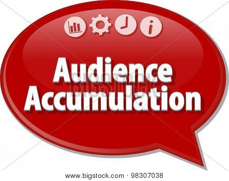 Speech bubble dialog illustration of business term saying Audience Accumulation