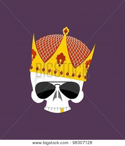 Skull Crown. White Head Skeleton In Sun Points, And With Gold Teeth. Vector Logo Emblem For Yard Bul