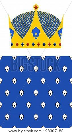 Crown For King And Royal Pattern. Vector Set For Kingdom.