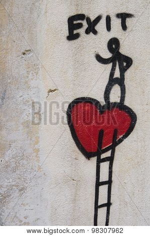 Heart Painted On A Wall, Florence