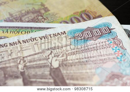 Banknote In Two Thousand Vietnamese Dong Close Up