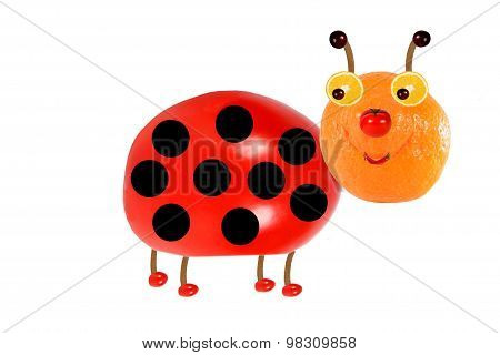 Creative Food Concept. Funny Little  Ladybird Made From Fruit ,Vegetables