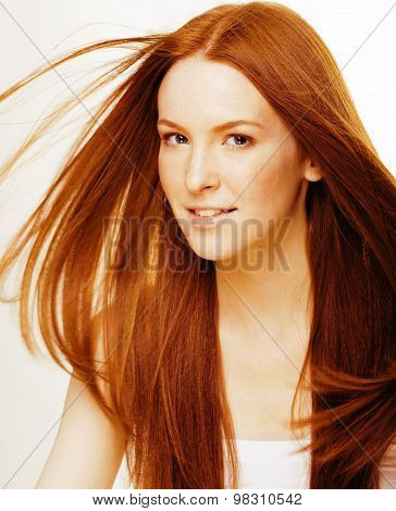 young beauty woman with ginger hair close up