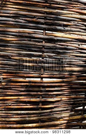 Wattled Fence From Dry Branches Of A Tree