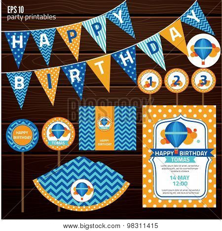 Set of design elements for birthday party, kid invitation card design. vector illustration