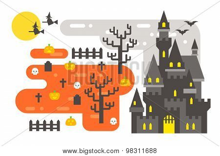 Flat Design Halloween Infographic Elements