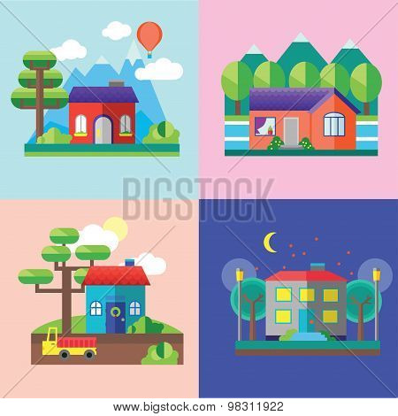 Color vector flat icon set and illustrations urban and village landscapes: nature, mountains, lake,