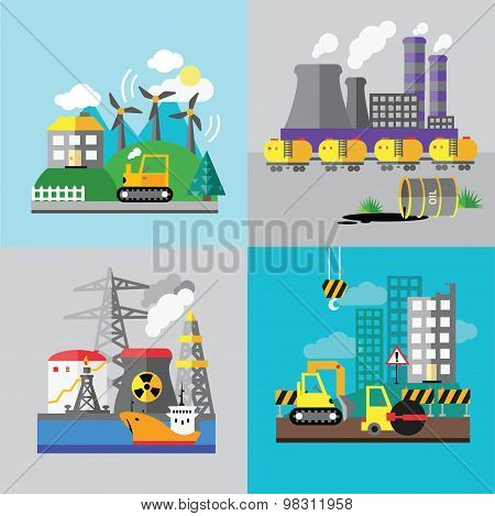Factory landscape, Ecology Concept - industry factory. Ecology Concept Vector Icons Set for Environm