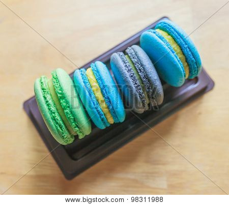 Colorful Macarons On Plastic Tray