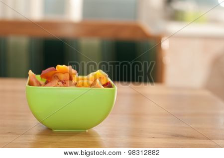 Bowl with porrige and fruits for breakfast
