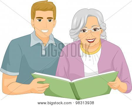 Illustration of a Caregiver Helping an Elderly Woman to Read a Book