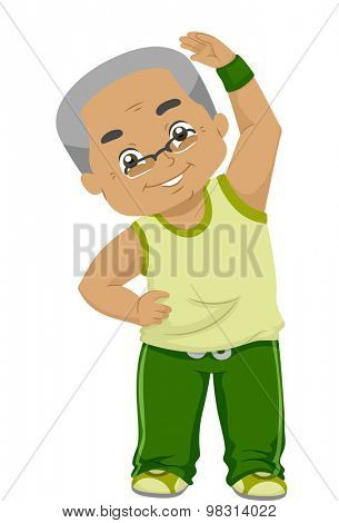 Illustration of an Elderly Man Bending His Neck While Exercising