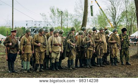 Unidentified re-enactors dressed as Soviet soldiers during event