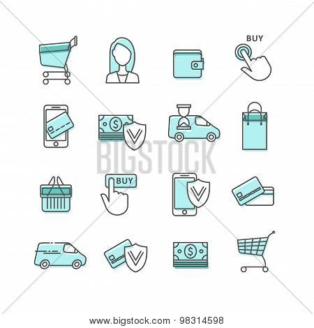 lines web icons set - shopping and e-commerce.