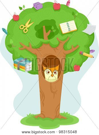 Illustration of an Owl Inside a Tree Decorated with Education Related Items