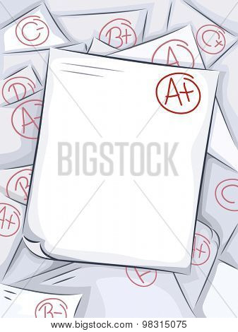 Background Illustration of a Pile of Graded Test Papers