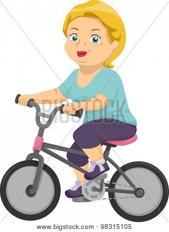 Illustration of an Elderly Woman Riding a Bicycle