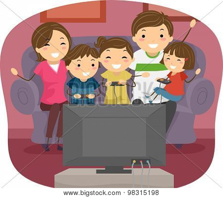 Stickman Illustration of a Family Playing Video Games Together