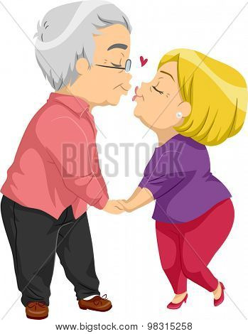 Illustration of an Elderly Couple Sharing a Kiss