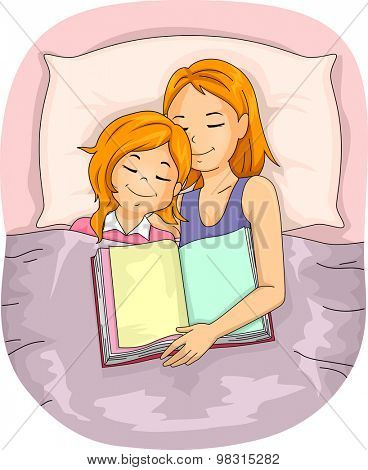 Illustration of a Mother Who Fell Asleep After Reading a Book to Her Daughter