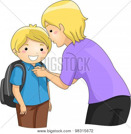Illustration of a Mother Helping Her Son Button Up His Shirt