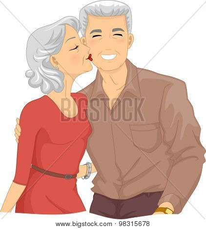 Illustration of an Elderly Woman Kissing the Cheek of an Elderly Man