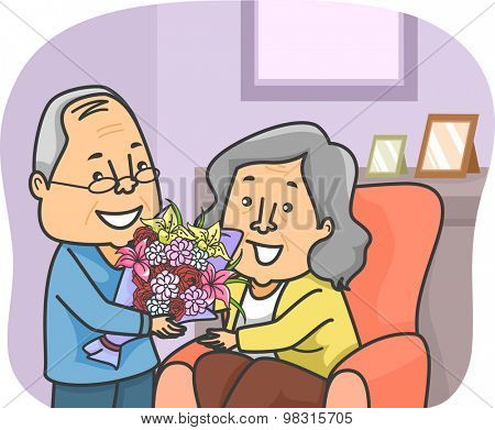 Illustration of an Elderly Man Giving a Bouquet of Flowers to an Elderly Woman