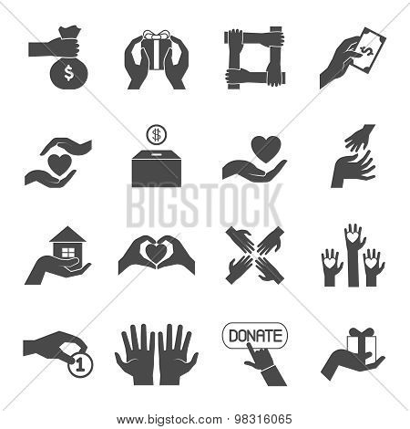 Long hands giving black icons set