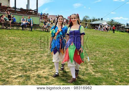 Vatra, Moldova. June 28, 2015. Medieval Festival. Historic Clubs From Europe