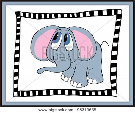 Beautiful Card With Cute Cartoon Elephant