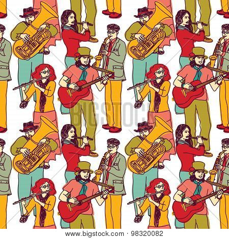 Group street musicians seamless color pattern