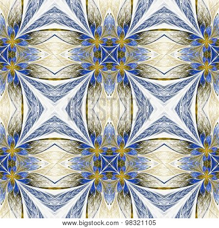 Symmetrical Flower Pattern In Stained-glass Window Style On Light. Beige And Blue Palette