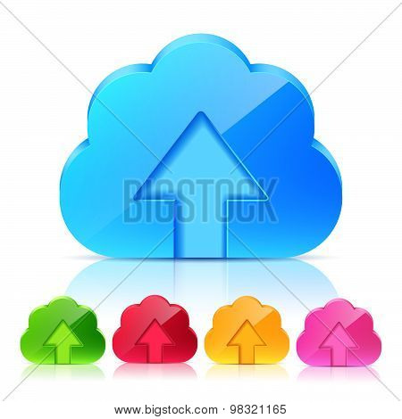 Set Of Upload Cloud Icons