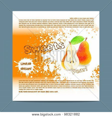 Template candy packaging. Pear sweets.