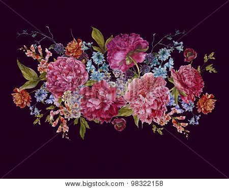 Watercolor Floral Bouquet with Burgundy Peonies in Vintage Style