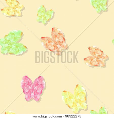 Seamless Pastel Colored Butterflies Pattern On Yellow
