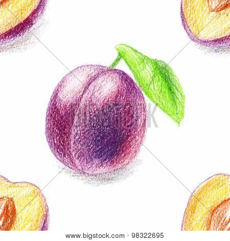 Seamless pattern with sweet plum.