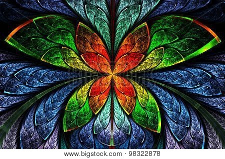 Multicolored Symmetrical Fractal Pattern As Flower Or Butterfly In Stained-glass Window Style