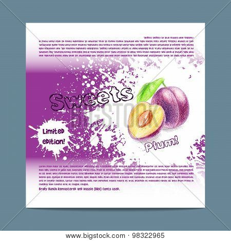 Template candy packaging. Plum sweets.