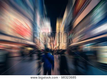 Blur Burst Zoom Of People In Urban