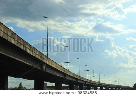 Elevated Bridge With Street Light