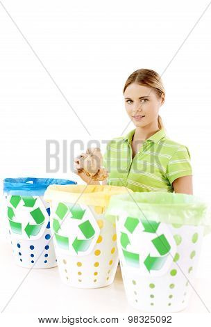 Concept for colorful trash cans and sorting rubbish